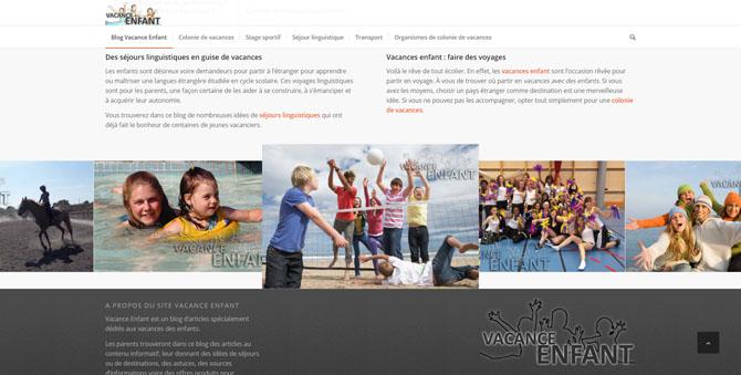 Couverture de la page d'accueil du blog Vacance Enfant