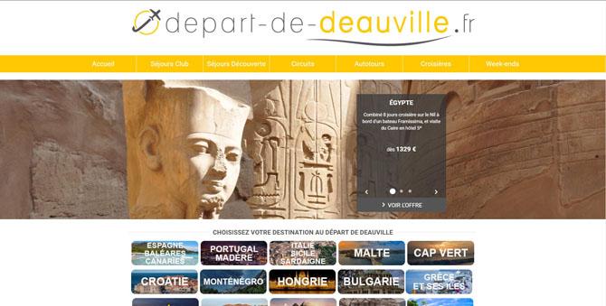Page d'accueil du site AU Départ de Deauville de l'agence Périer VOyages