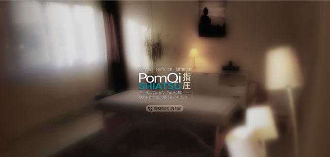 Photo d'écran de la page d'accueil de Pomqi, cabinet de shiatsu