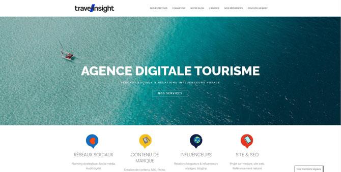 """Copie d'écran de la """"Home page"""" du site Travel-Insight"""