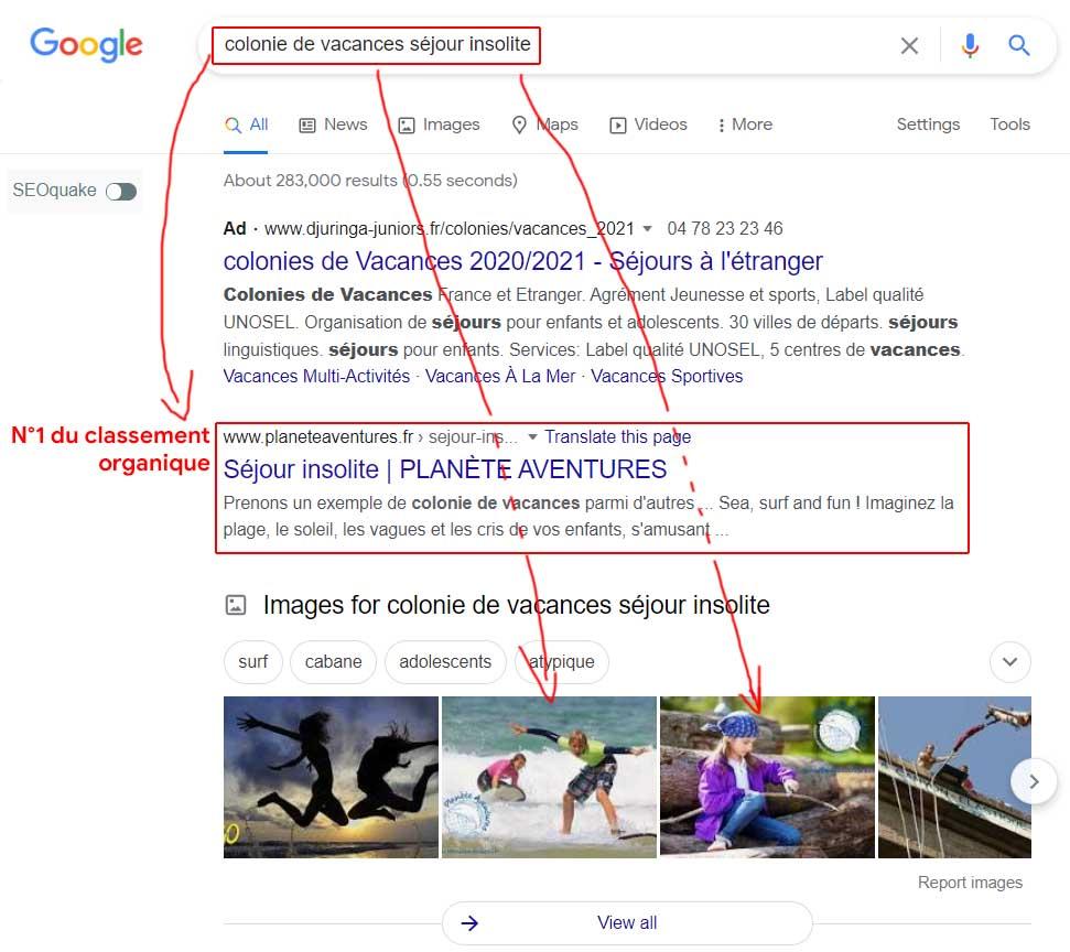 Copie d'écran d'une page de résultat Google sur une thématique Planète Aventures