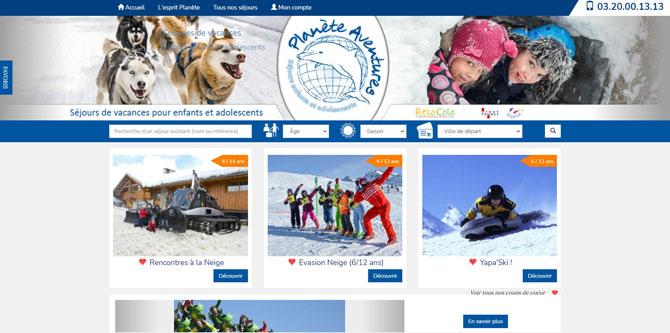 Copie d'écran de la page d'accueil du site Planète Aventures
