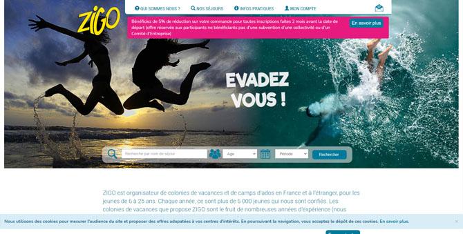 Page d'accueil du site Zigotours, acteur français de la colonie de vacances