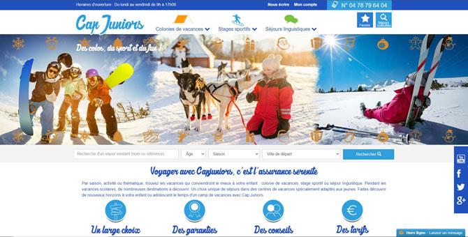 Page d'accueil du site web Cap-Juniors