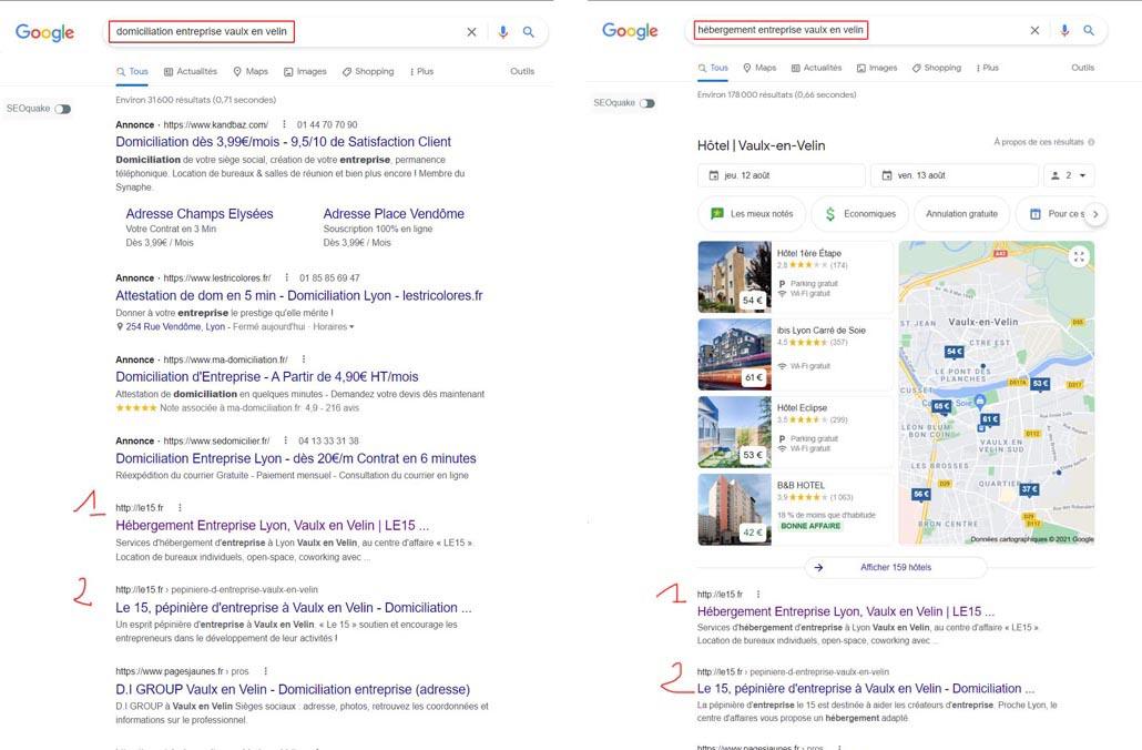 Résultats google sur des positions d'expressions LE15