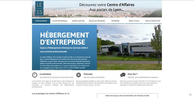 Couverture et page d'accueil du site LE15, centre d'affaires à Lyon