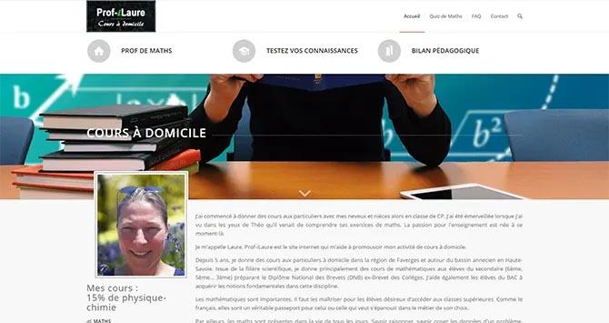 Page d'accueil du site Prof'iLaure